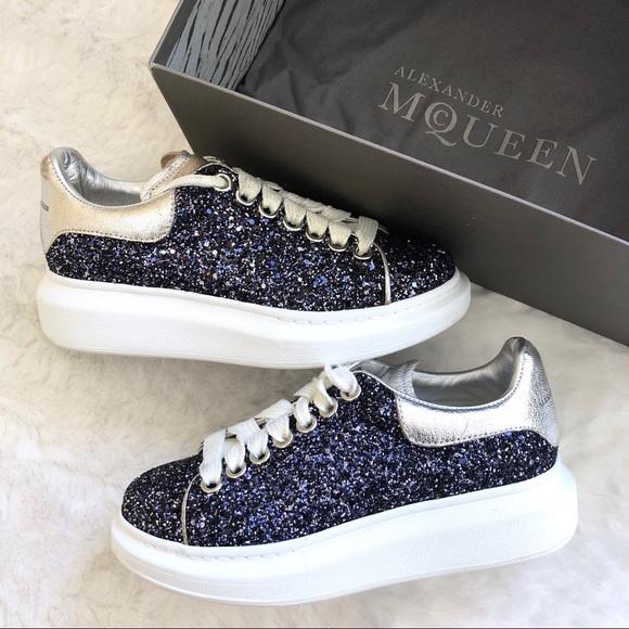 Alexander McQueen Platform Blue Glitter Sneakers
